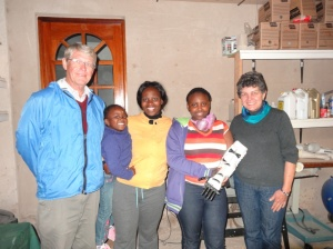 Esethu and her mom with Bev and Alec who brought them to Robohand HQ